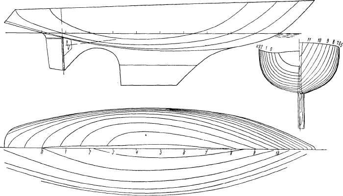 Теоретический чертеж яхты аметист ii